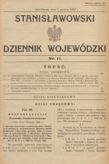 Stanisławowski Dziennik Wojewódzki. 1933, nr17
