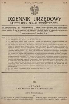 Dziennik Urzędowy Ministerstwa Spraw Wewnętrznych. 1919, nr39