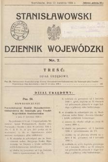 Stanisławowski Dziennik Wojewódzki. 1936, nr7