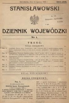 Stanisławowski Dziennik Wojewódzki. 1939, nr1