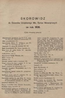 Dziennik Urzędowy Ministerstwa Spraw Wewnętrznych. 1926, skorowidz