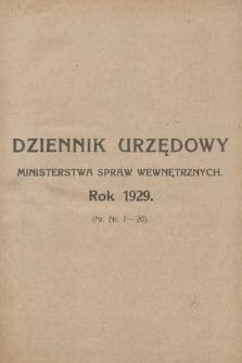 Dziennik Urzędowy Ministerstwa Spraw Wewnętrznych. 1929, skorowidz alfabetyczny