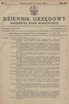 Dziennik Urzędowy Ministerstwa Spraw Wewnętrznych. 1929, nr1