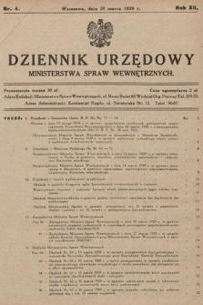 Dziennik Urzędowy Ministerstwa Spraw Wewnętrznych. 1929, nr4