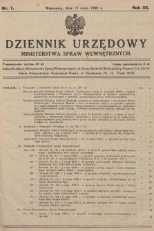 Dziennik Urzędowy Ministerstwa Spraw Wewnętrznych. 1929, nr7