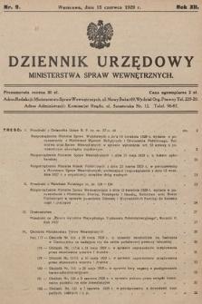Dziennik Urzędowy Ministerstwa Spraw Wewnętrznych. 1929, nr9
