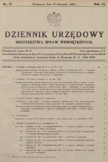 Dziennik Urzędowy Ministerstwa Spraw Wewnętrznych. 1929, nr17