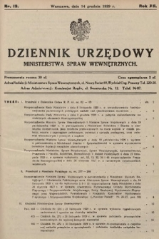 Dziennik Urzędowy Ministerstwa Spraw Wewnętrznych. 1929, nr19