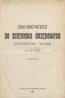 Skorowidz do Dziennika Urzędowego Ministerstwa Skarbu. 1923