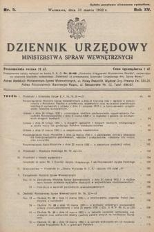 Dziennik Urzędowy Ministerstwa Spraw Wewnętrznych. 1932, nr5