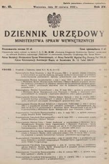 Dziennik Urzędowy Ministerstwa Spraw Wewnętrznych. 1932, nr10