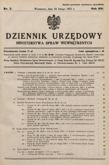 Dziennik Urzędowy Ministerstwa Spraw Wewnętrznych. 1933, nr3