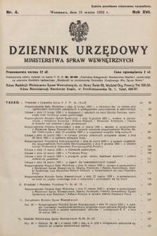 Dziennik Urzędowy Ministerstwa Spraw Wewnętrznych. 1933, nr4