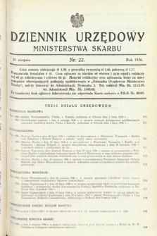 Dziennik Urzędowy Ministerstwa Skarbu. 1936, nr22