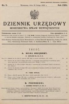 Dziennik Urzędowy Ministerstwa Spraw Wewnętrznych. 1935, nr5