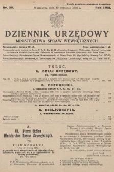 Dziennik Urzędowy Ministerstwa Spraw Wewnętrznych. 1935, nr29