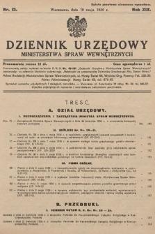 Dziennik Urzędowy Ministerstwa Spraw Wewnętrznych. 1936, nr13
