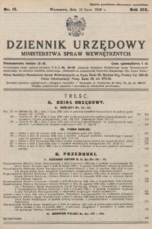 Dziennik Urzędowy Ministerstwa Spraw Wewnętrznych. 1936, nr19