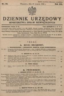 Dziennik Urzędowy Ministerstwa Spraw Wewnętrznych. 1936, nr23