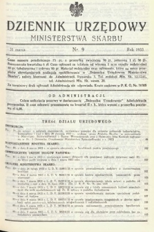 Dziennik Urzędowy Ministerstwa Skarbu. 1933, nr9