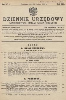 Dziennik Urzędowy Ministerstwa Spraw Wewnętrznych. 1936, nr37