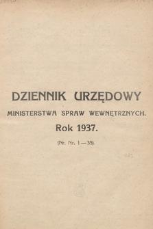 Dziennik Urzędowy Ministerstwa Spraw Wewnętrznych. 1937, skorowidz alfabetyczny