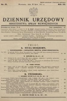Dziennik Urzędowy Ministerstwa Spraw Wewnętrznych. 1937, nr19