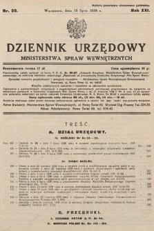Dziennik Urzędowy Ministerstwa Spraw Wewnętrznych. 1938, nr20