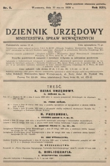 Dziennik Urzędowy Ministerstwa Spraw Wewnętrznych. 1939, nr6