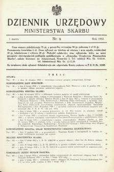 Dziennik Urzędowy Ministerstwa Skarbu. 1932, nr6