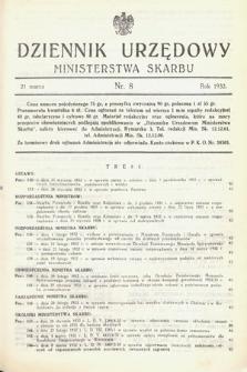Dziennik Urzędowy Ministerstwa Skarbu. 1932, nr8