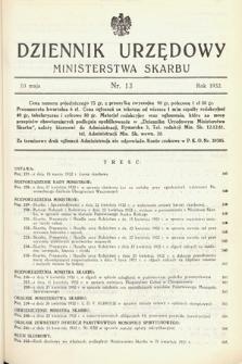 Dziennik Urzędowy Ministerstwa Skarbu. 1932, nr13