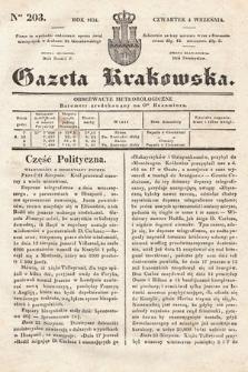 Gazeta Krakowska. 1834, nr203