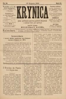 Krynica : pismo poświęcone sprawom polskich zdrojowisk. 1888, nr14