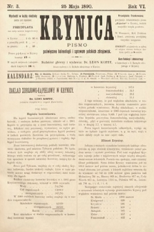 Krynica : pismo poświęcone sprawom polskich zdrojowisk. 1890, nr3