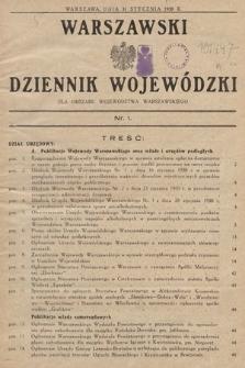 Warszawski Dziennik Wojewódzki : dla obszaru Województwa Warszawskiego. 1930, nr1